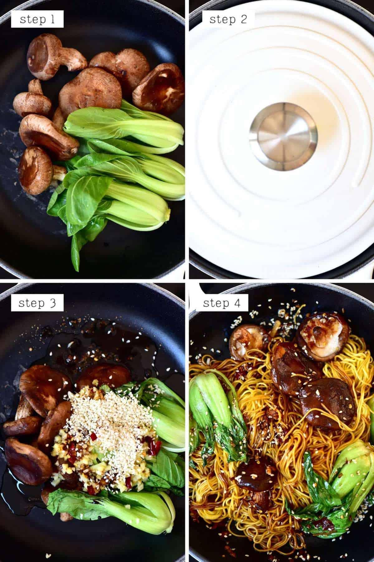 Steps for cooking dan dan noodles