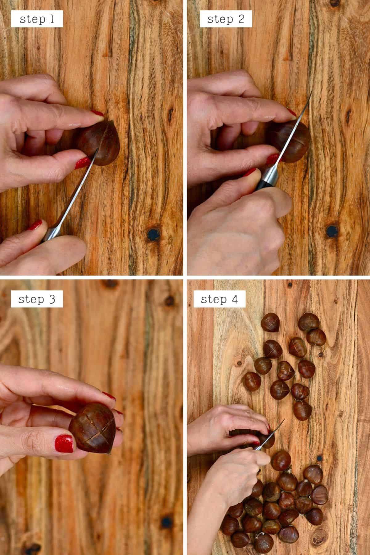 Steps for cutting chestnuts