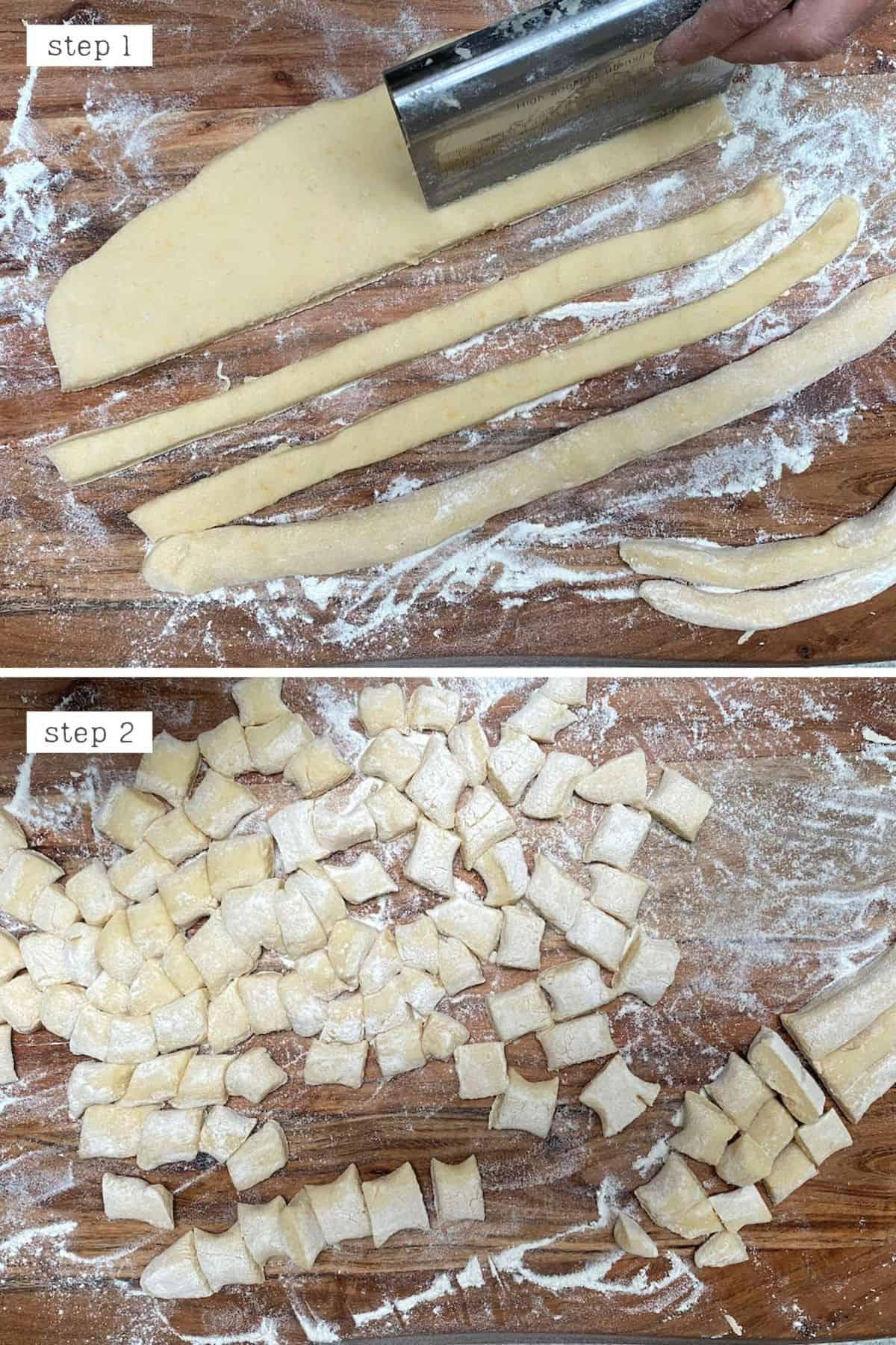 Steps for cutting dough for gnocchi