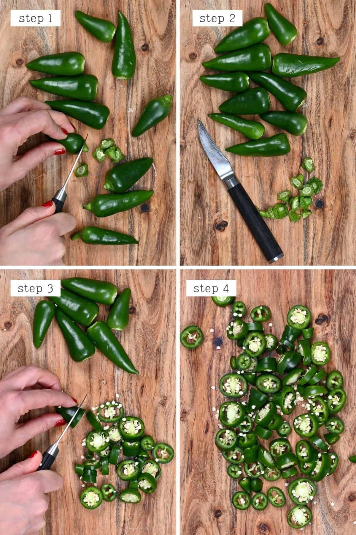 Steps for cutting jalapeños