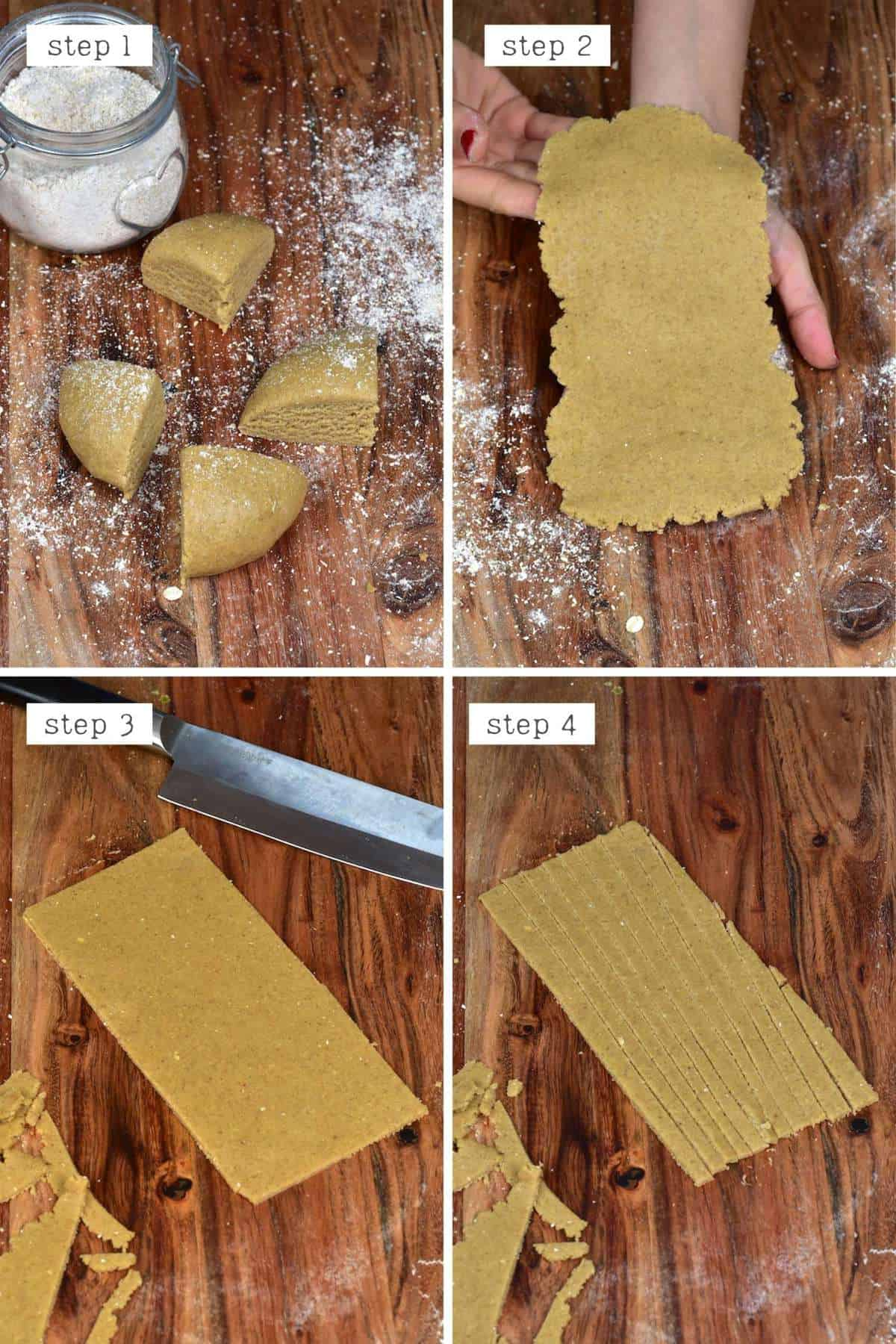 Steps for cutting oat flour pasta