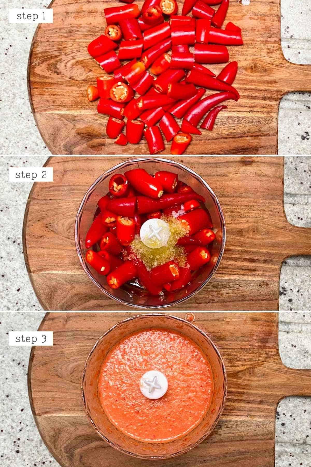 Steps for making homemade chili sauce in a blender