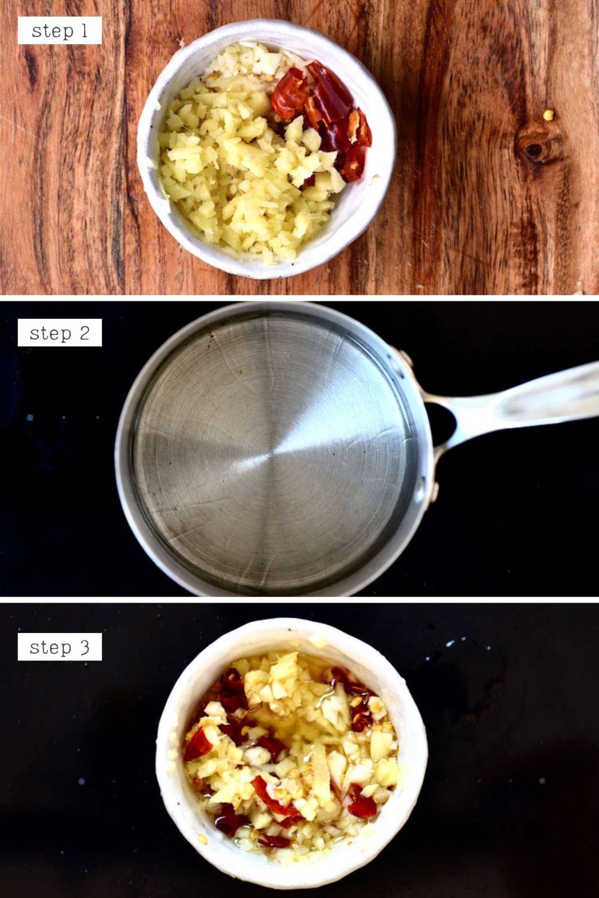 Steps for making garlic ginger infused oil