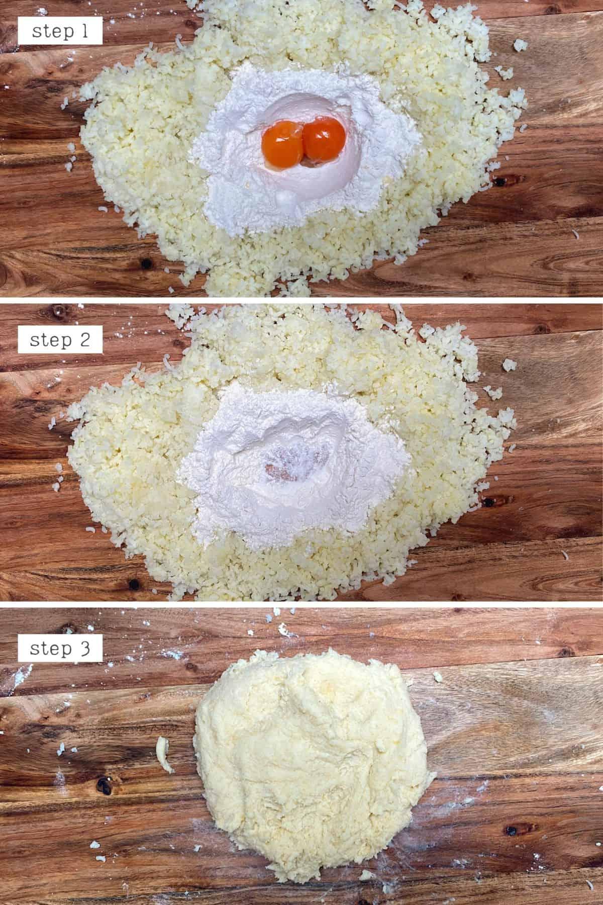 Steps for making gnocchi dough