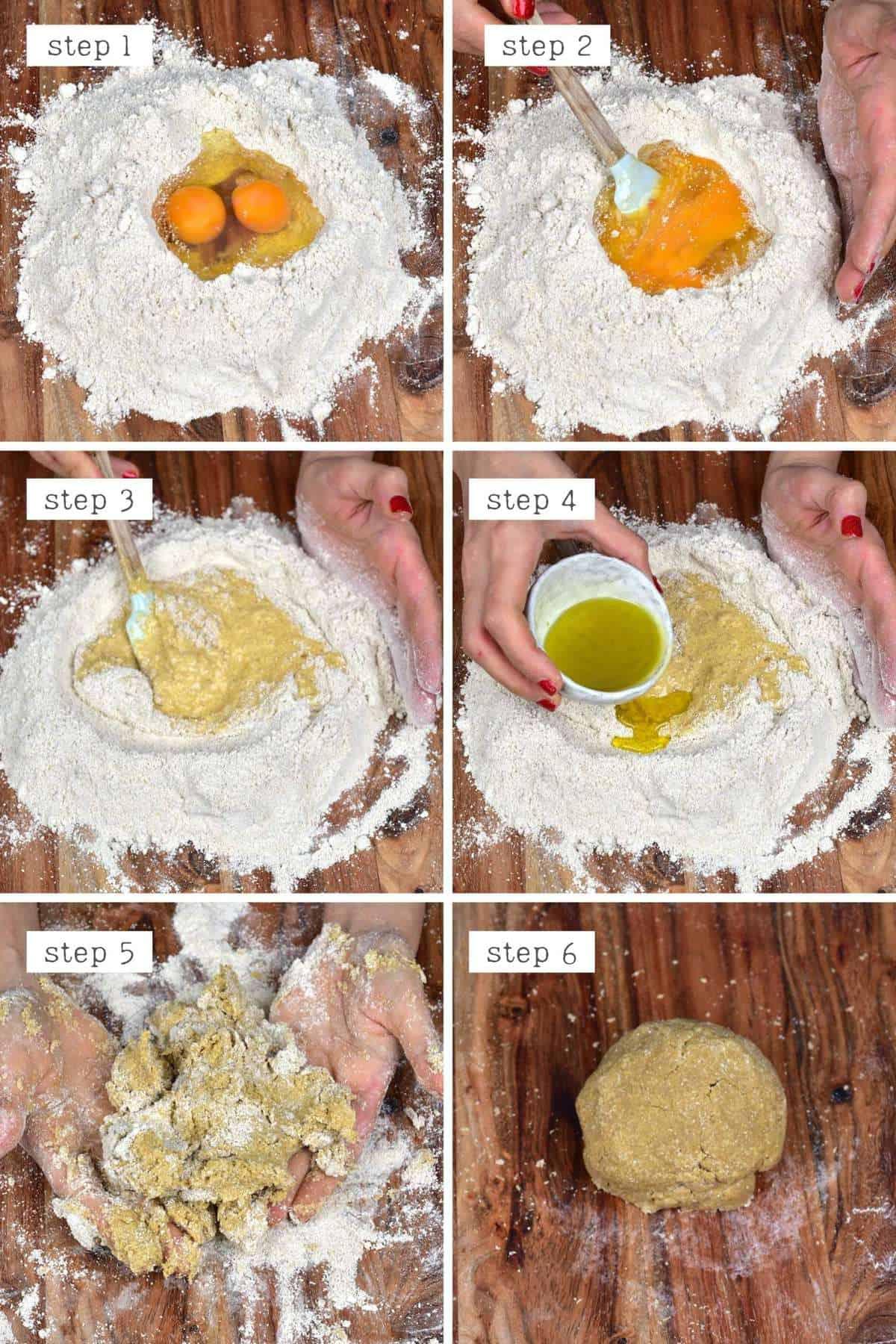 Steps for making oat flour pasta