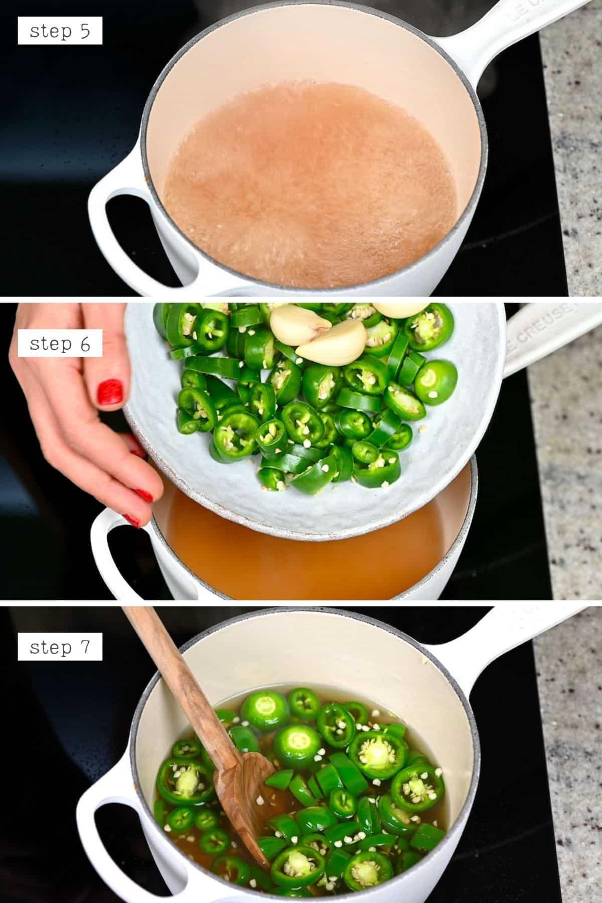 Steps for making pickled jalapeños