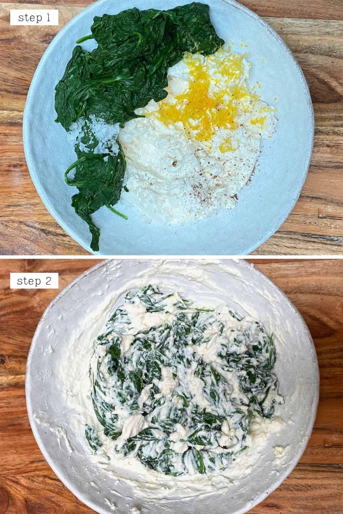 Steps for making ravioli filling
