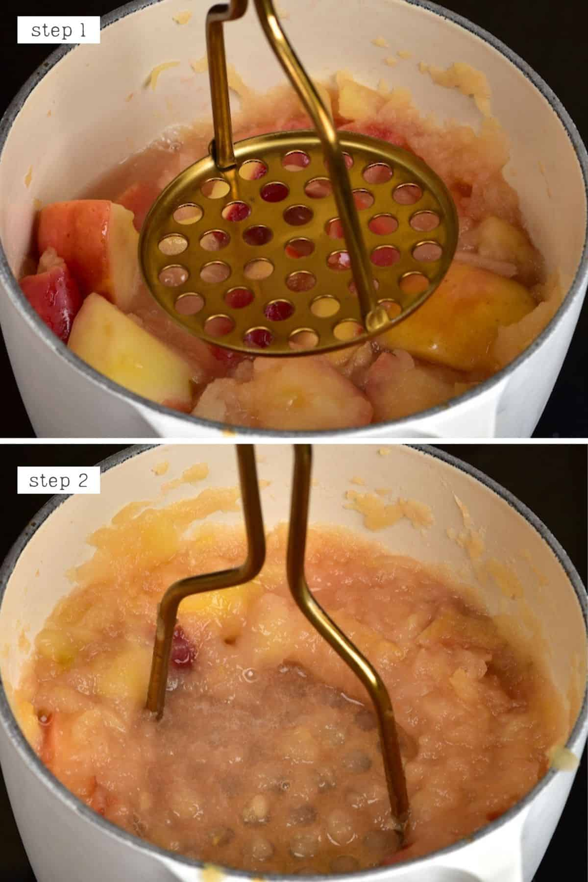 Steps for mashing apples