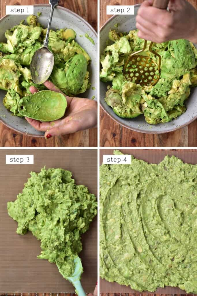 Steps for mashing avocados