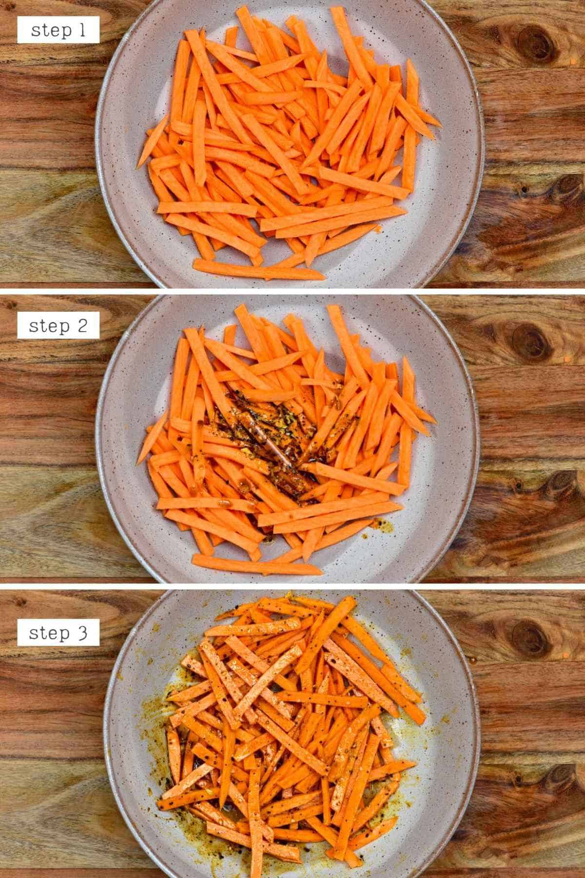 Steps for mixing sweet potato fries with spices