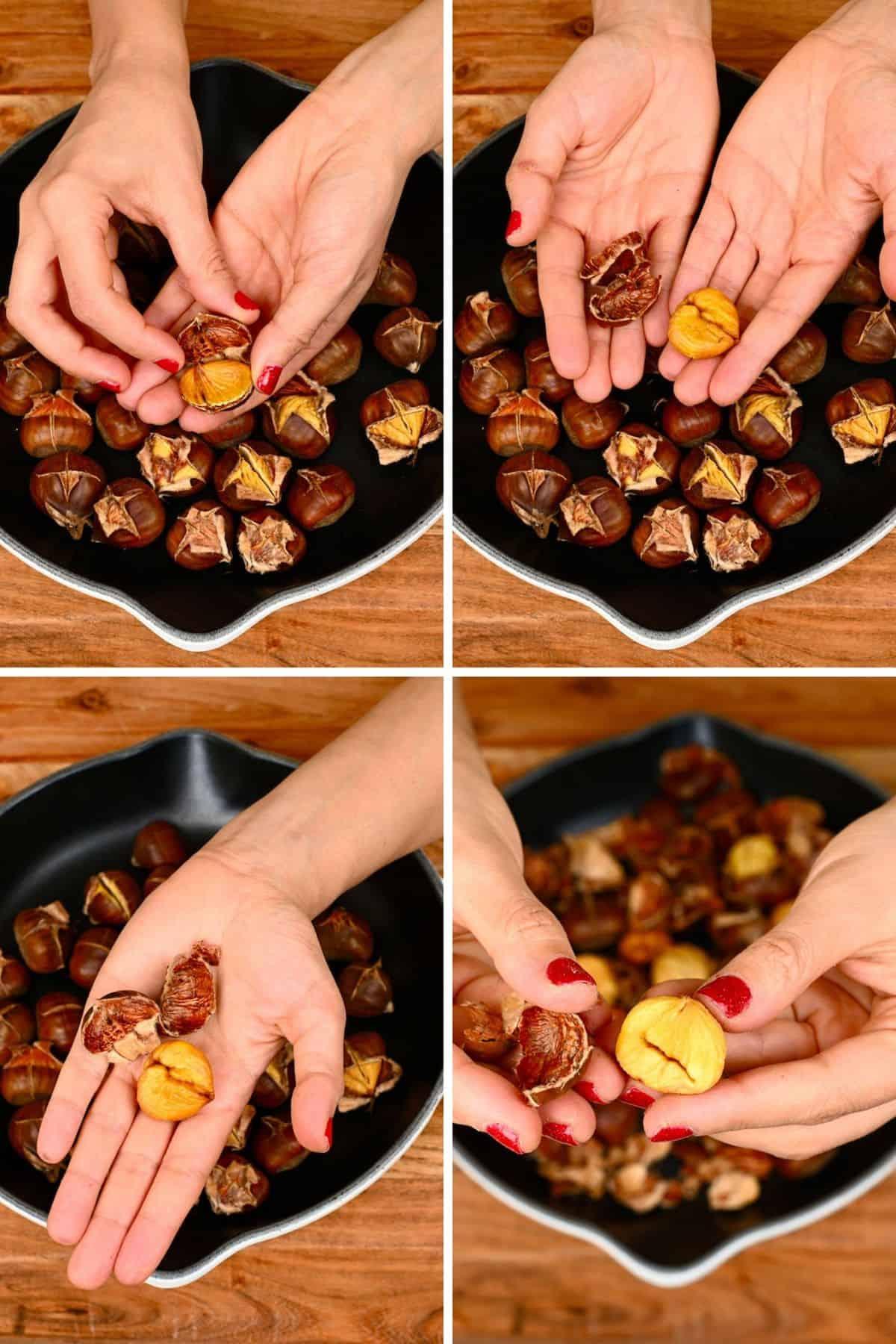 Steps for peeling roasted chestnuts