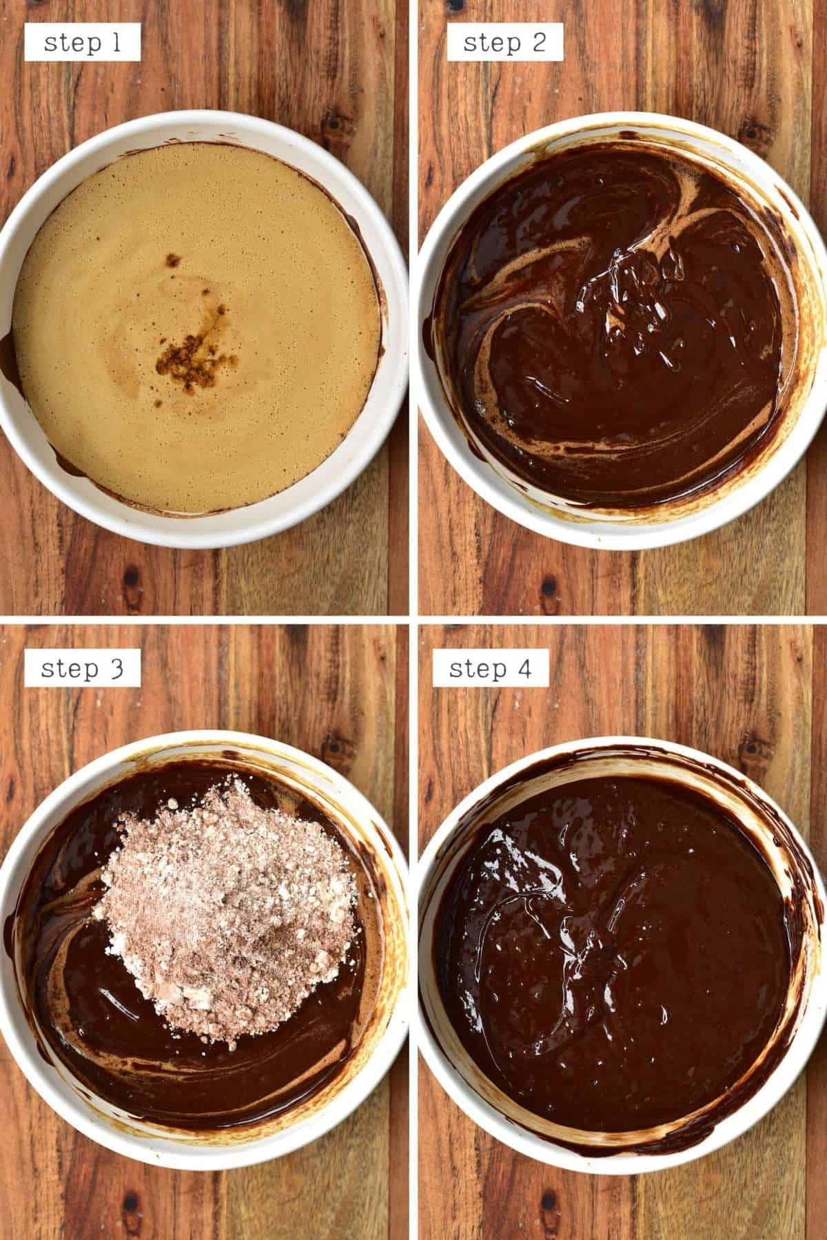 Steps for preparing brownie batter