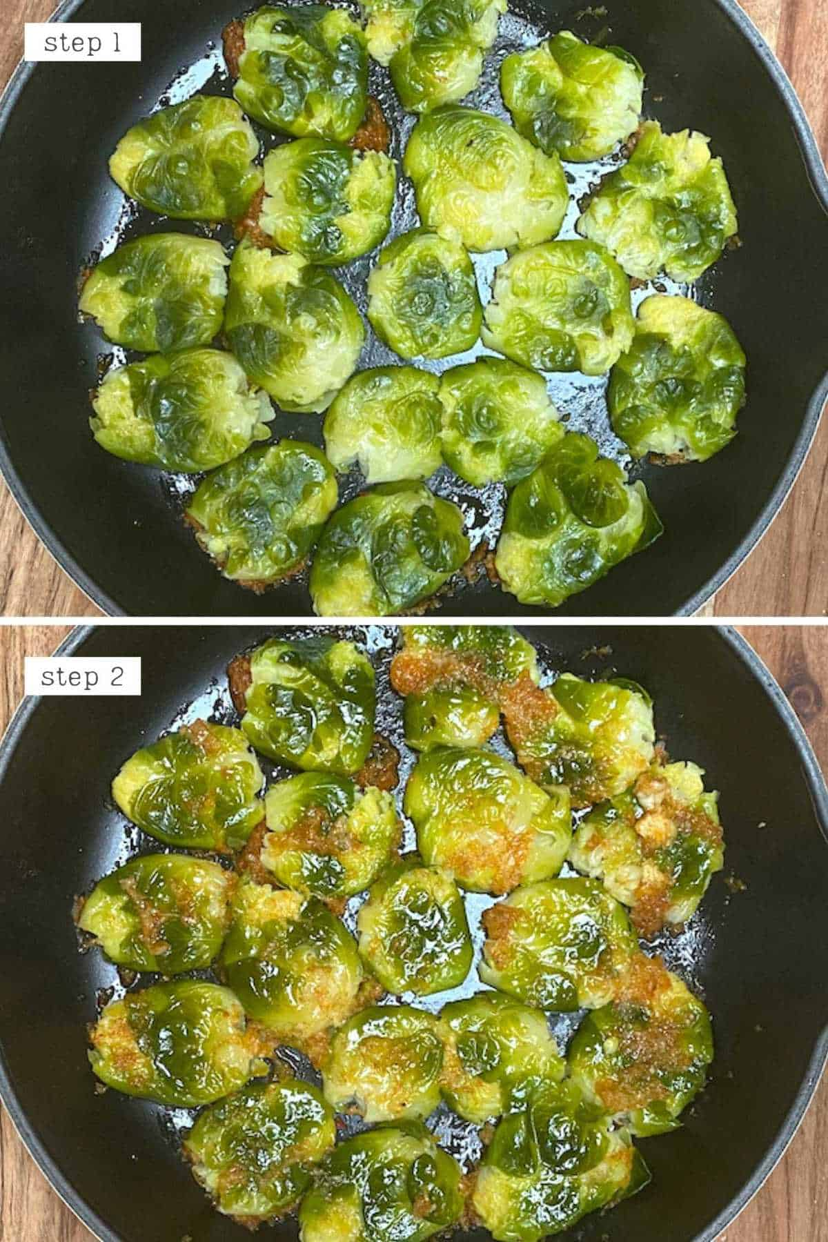 Steps for preparing brussels sprouts for roasting