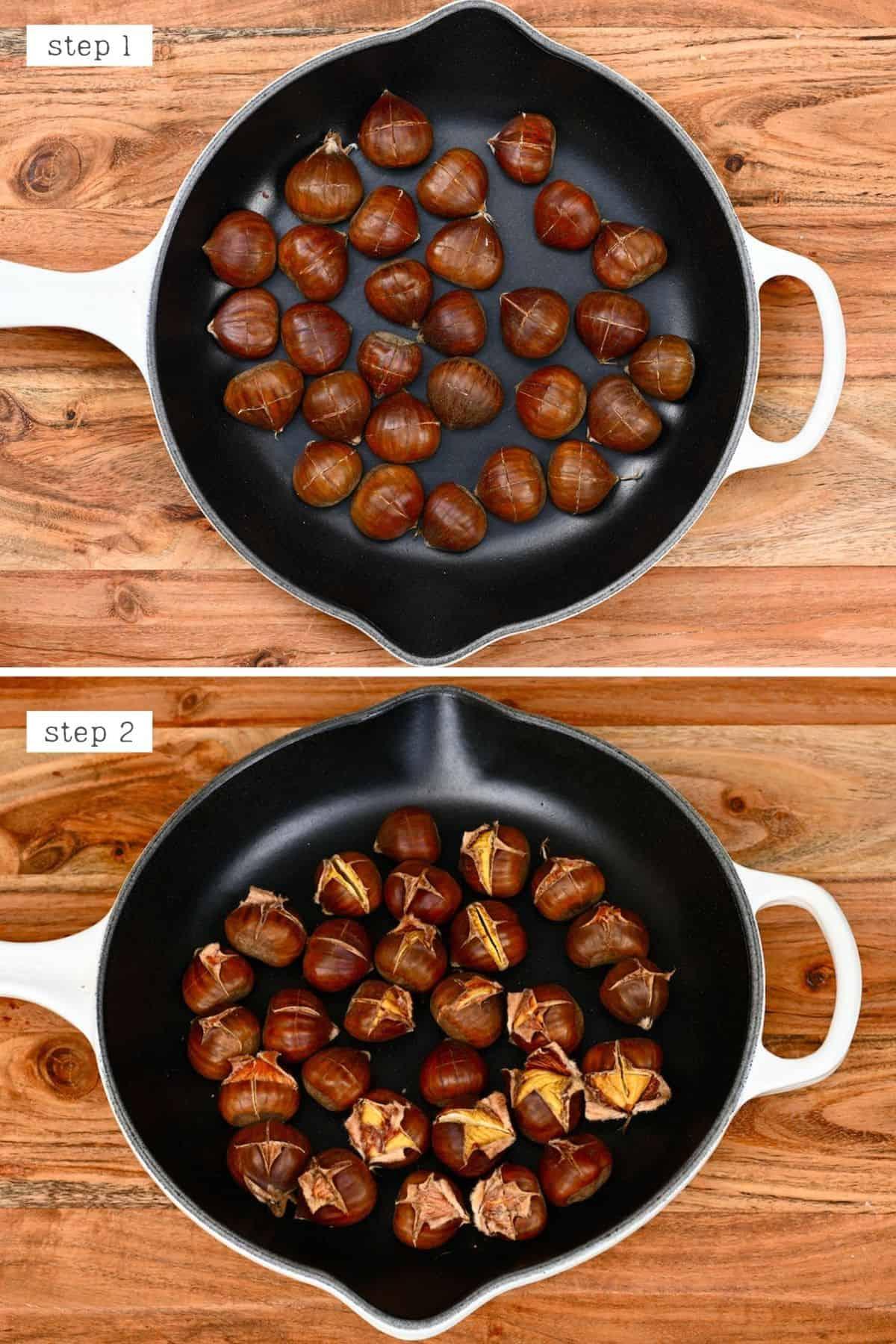 Steps for roasting chestnuts