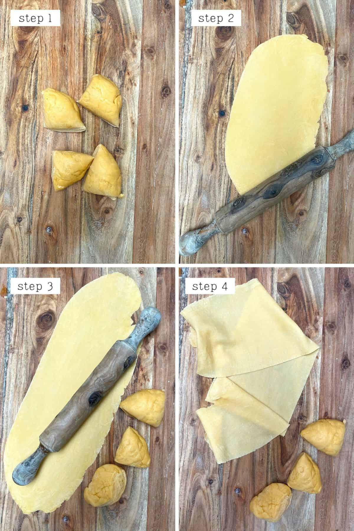 Steps for rolling ravioli dough