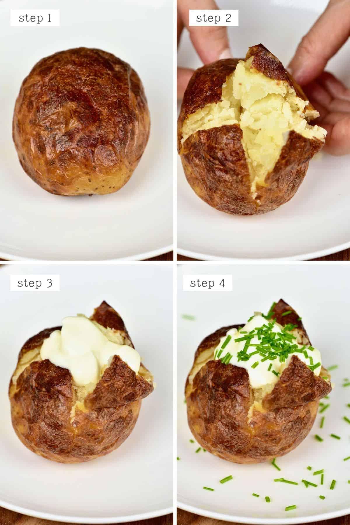 Steps for serving salt baked potatoes
