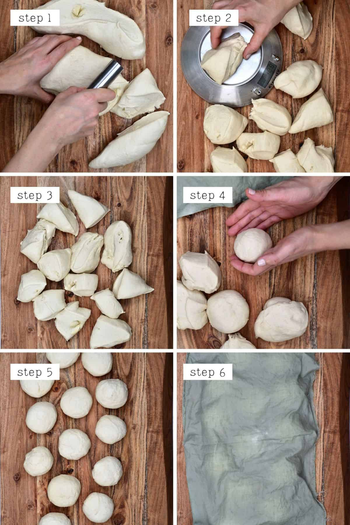 Steps for shaping dough into bagels