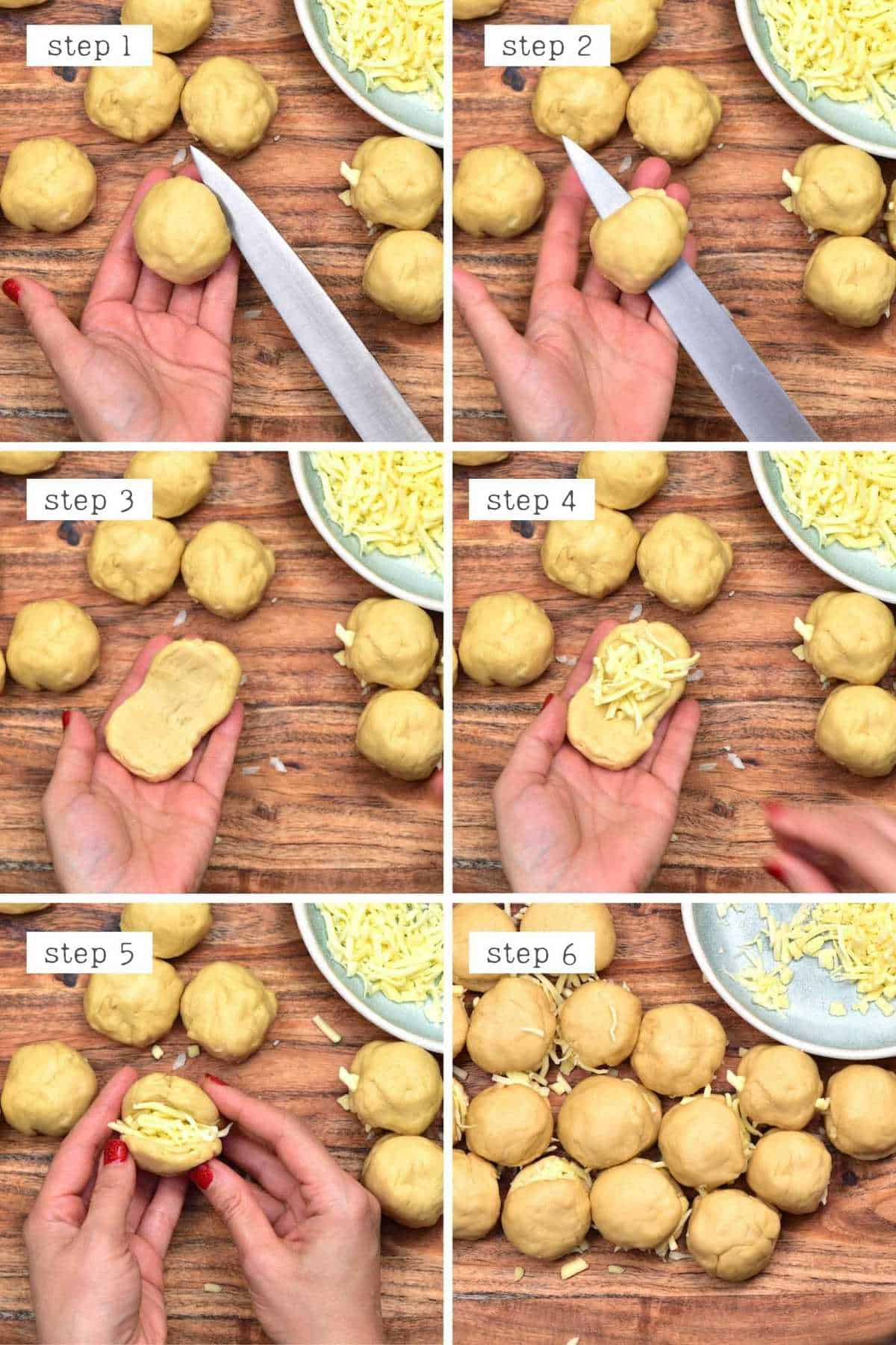 Steps for stuffing buns with cheese