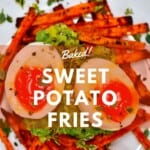 Sweet potato fries served with guacamole and soft-boiled eggs