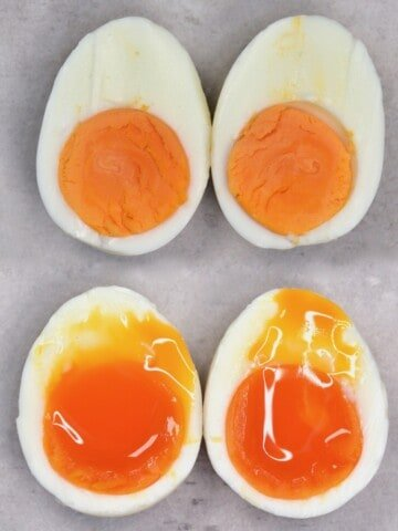 Two boiled eggs cut in half