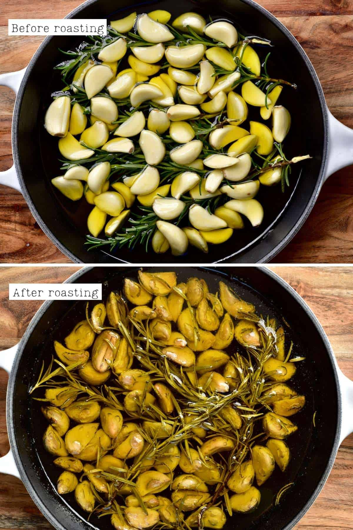 Before and after roasting garlic