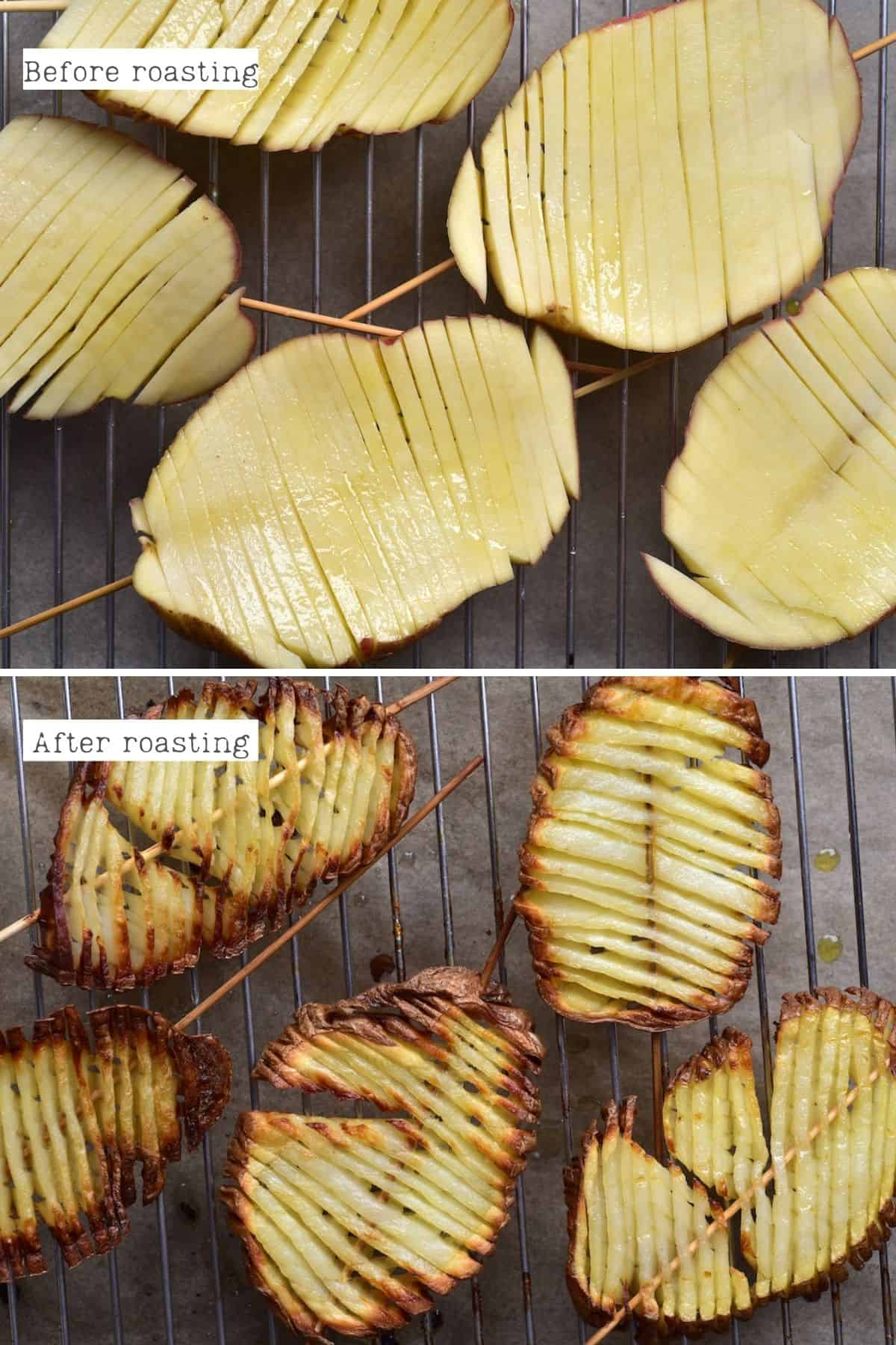 Before and after roasting potatoes