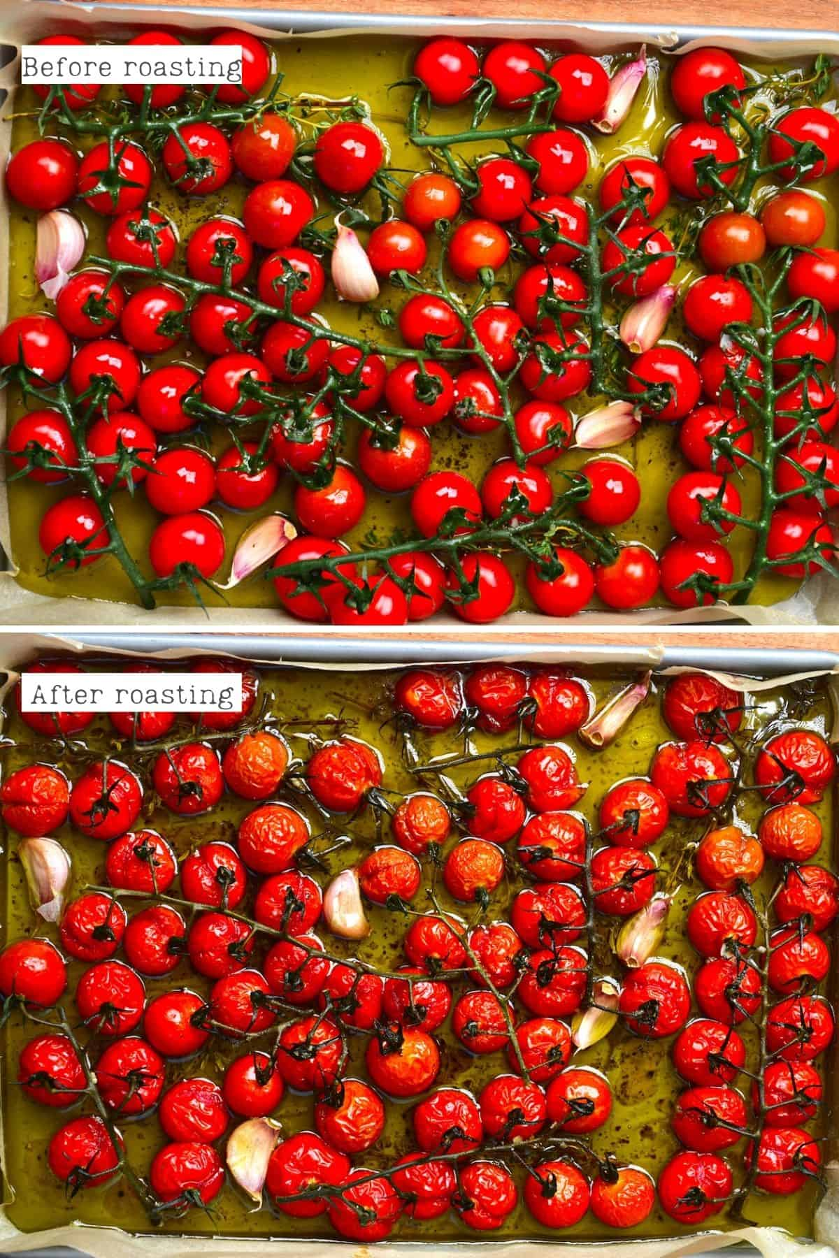 Before and after roasting tomatoes