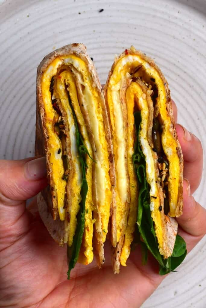 Folded tortilla with omelette and spinach