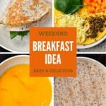 Steps for making Breakfast tortilla with omelette and cheese