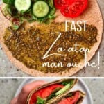 Breakfast tortilla with zaatar, cucumber, tomato