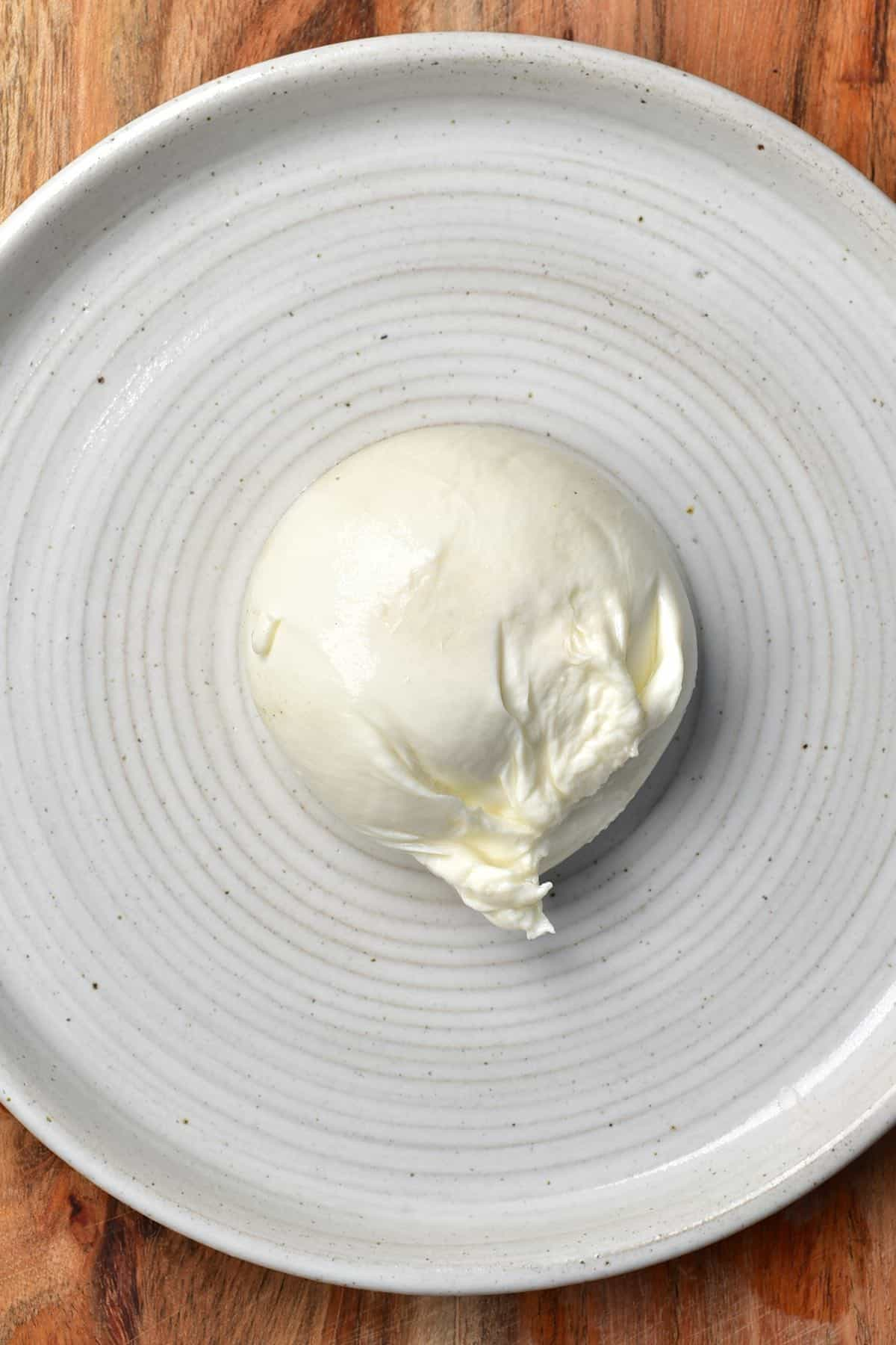Burrata cheese in a plate