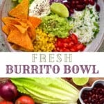 A veggie burrito bowl and vegetables