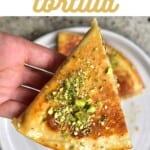 Baklava inspired tortilla wrap topped with pistachios