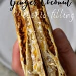 Folded tortilla with ginger cookies and shredded coconut