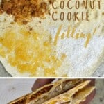 Tortilla topped with shredded coconut, ginger jam, and ginger cookies