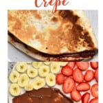 Tortilla topped with banana slices, strawberry slices and Nutella