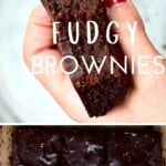 Hand holding a fudgy brownie