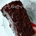 A thick piece of fudgy brownies