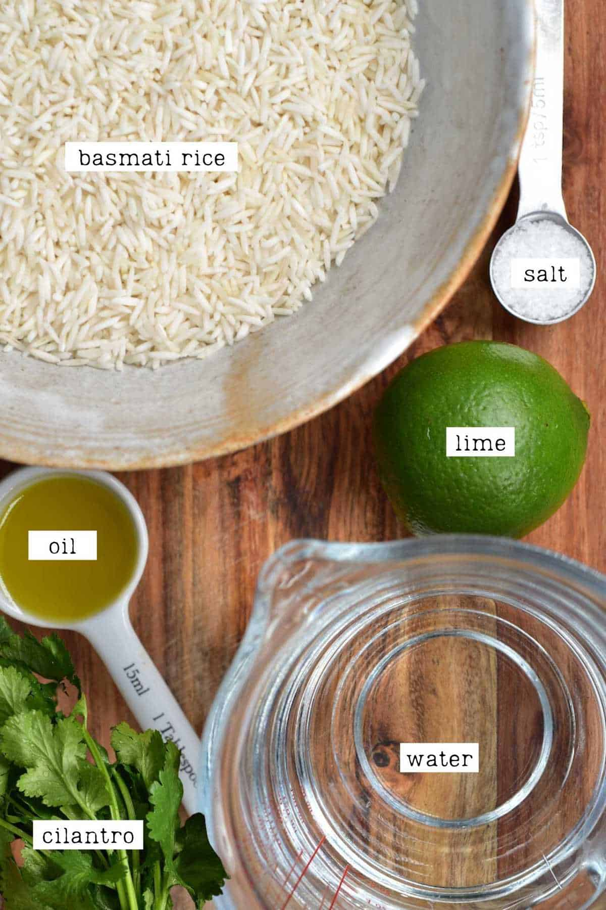 Ingredients for coriander lime rice