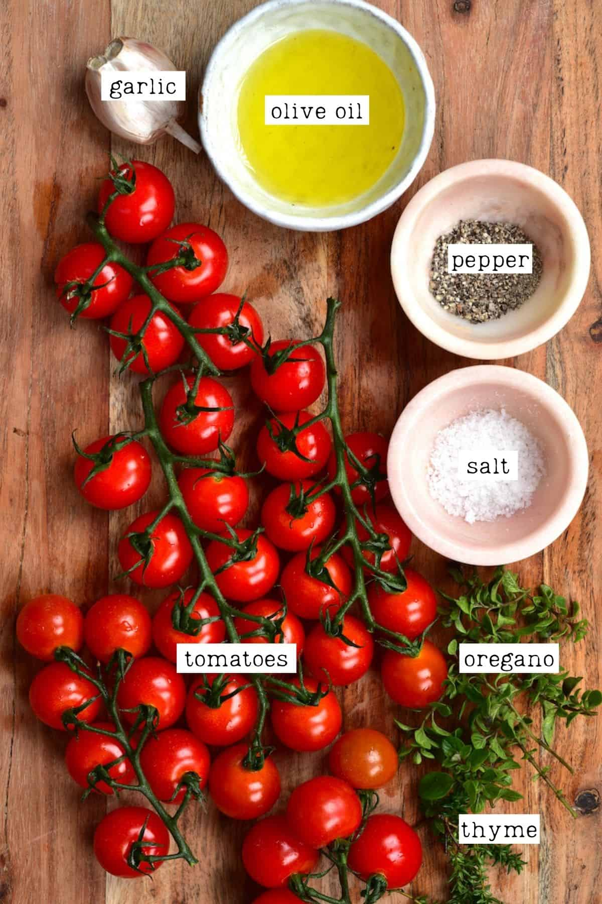 Ingredients for roasted tomato sauce