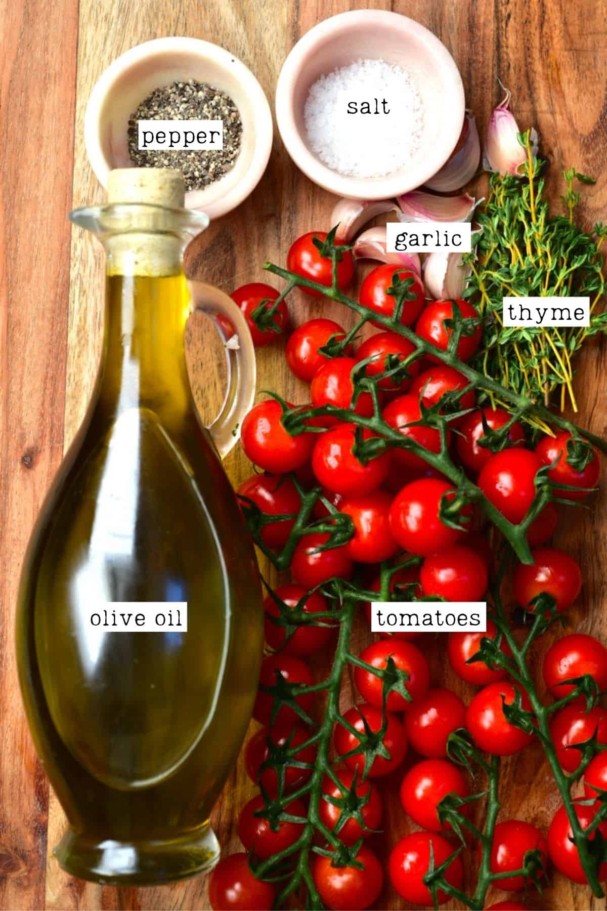 Ingredients for tomato confit