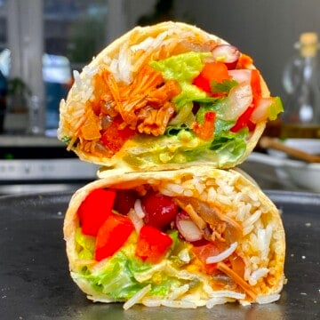 Jackfruit burrito cut in two