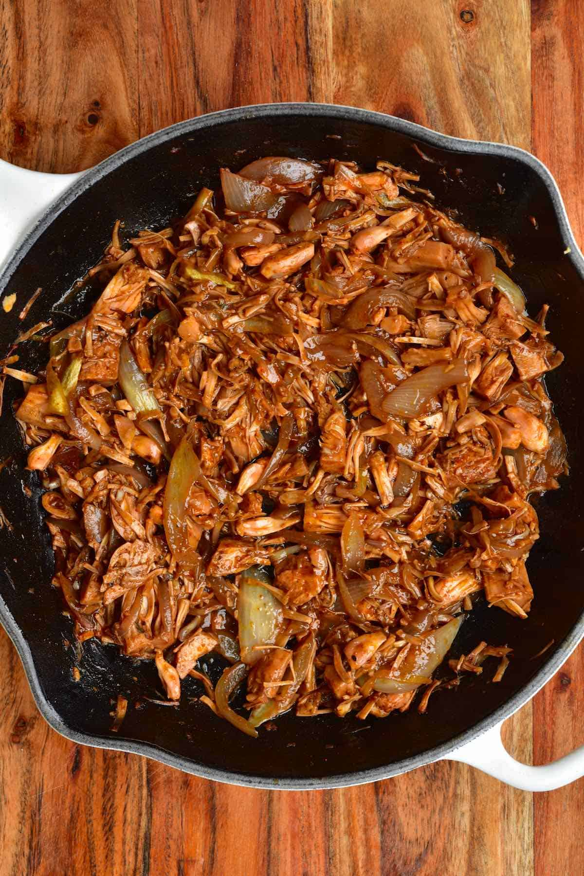 BBQ pulled jackfruit in a pan
