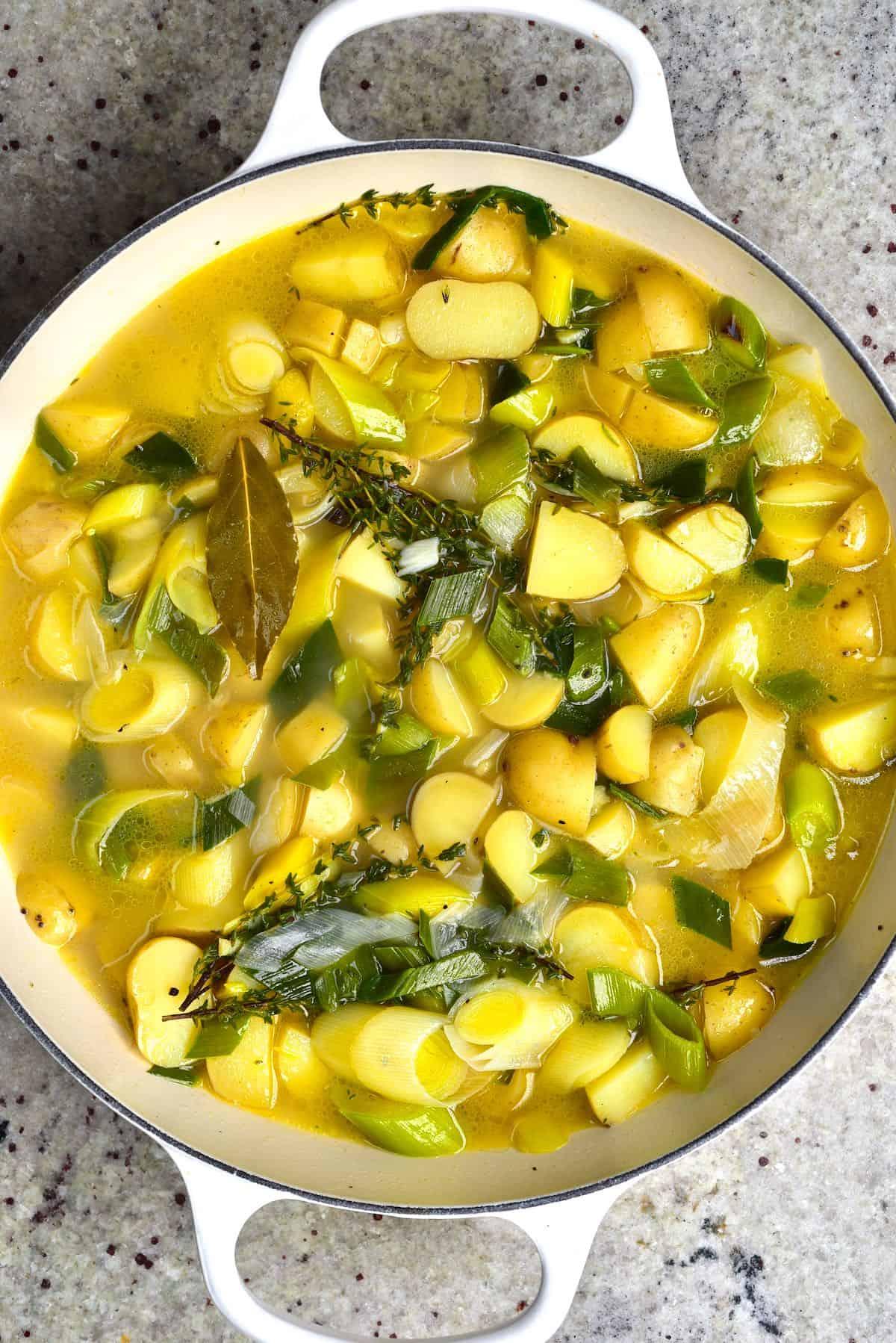 A pot with potato leek soup
