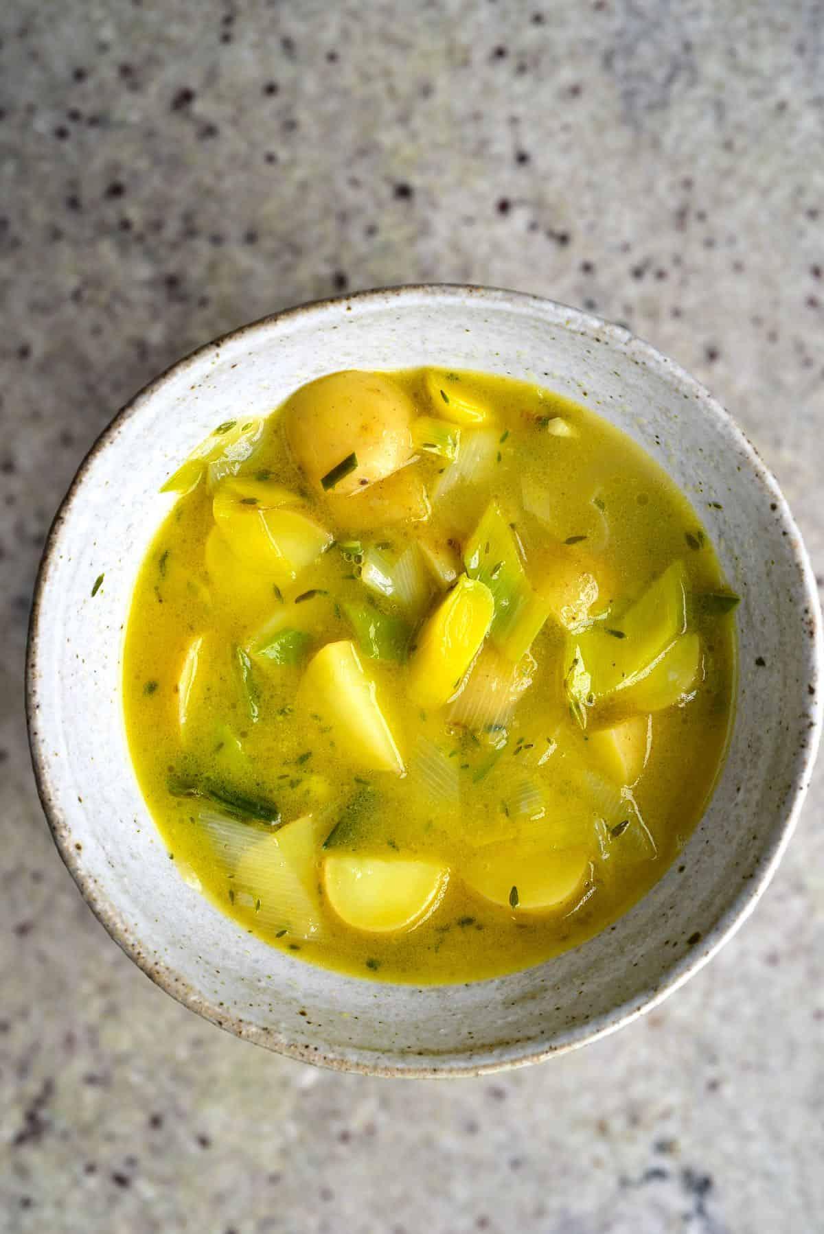 A bowl with potato leek soup