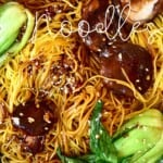 A close up of vegetable lo mein noodle dish