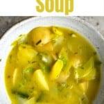 A bowl of chunky potato seek soup