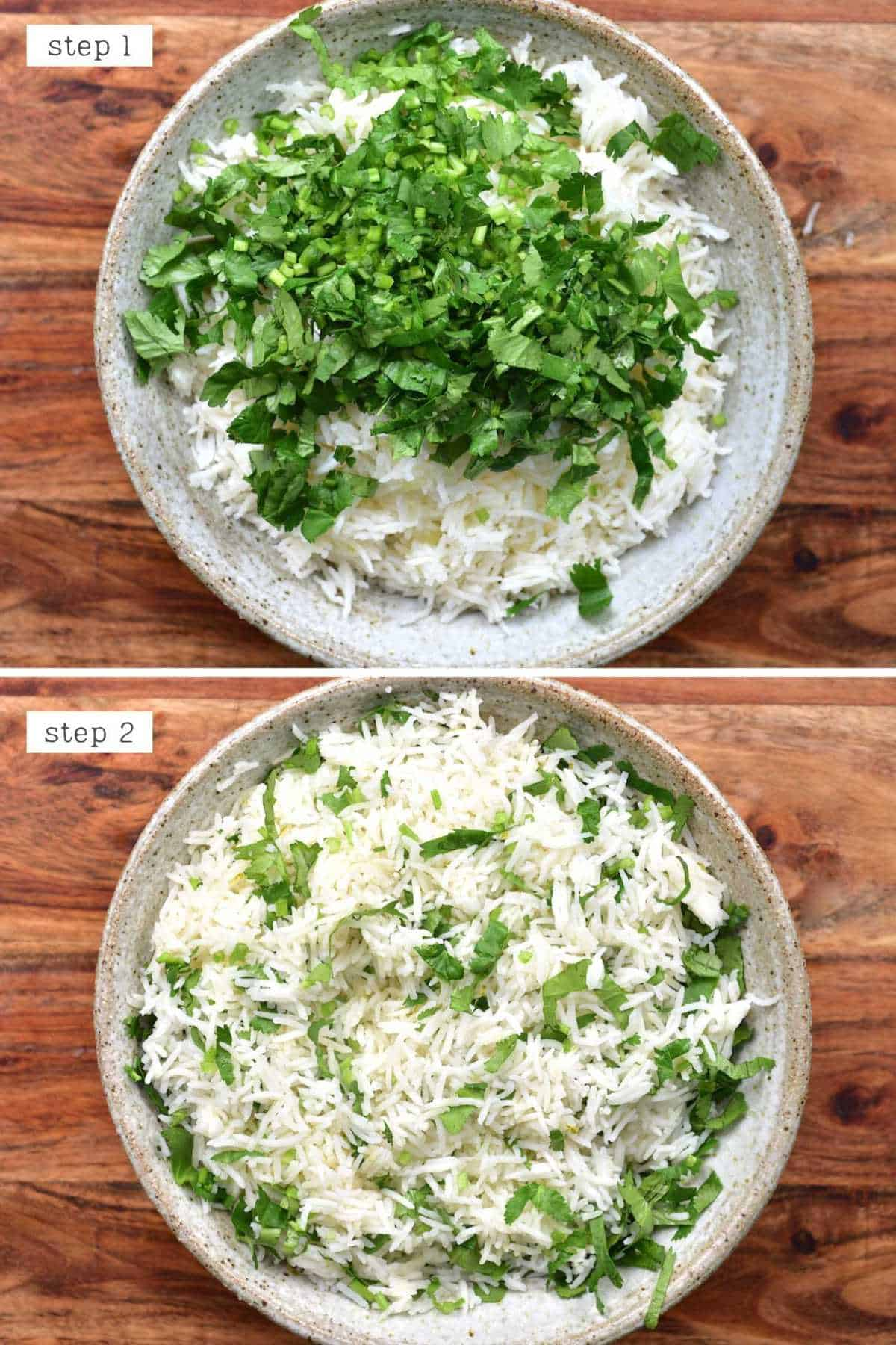 Steps for adding cilantro to rice