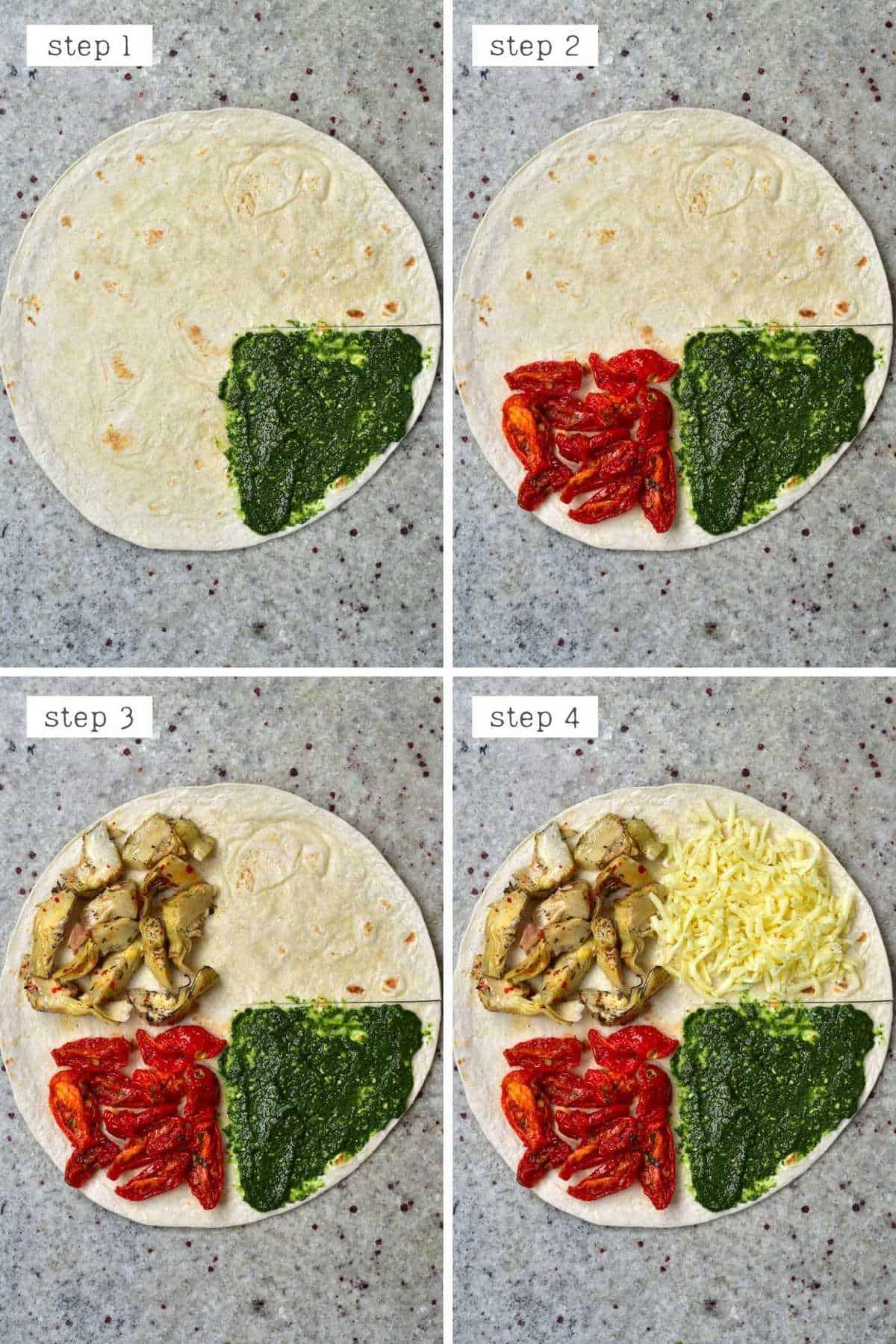 Steps for arranging ingredients on tortilla
