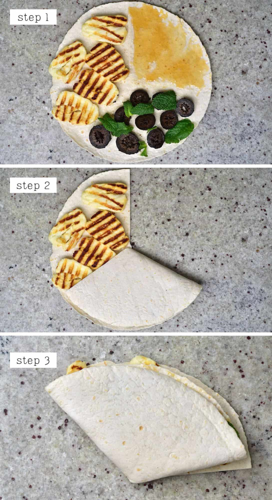 Steps for arranging three ingredients on a tortilla